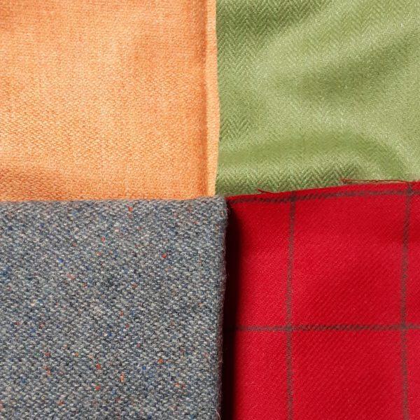 4 colours of wool fabrci, orange, green, sea green/grey, red