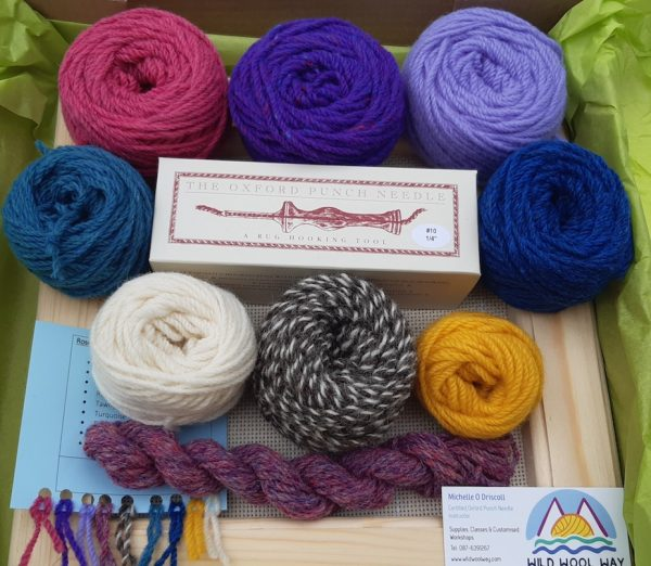 Free styler kit includes a frame, Oxford punch needle and wool
