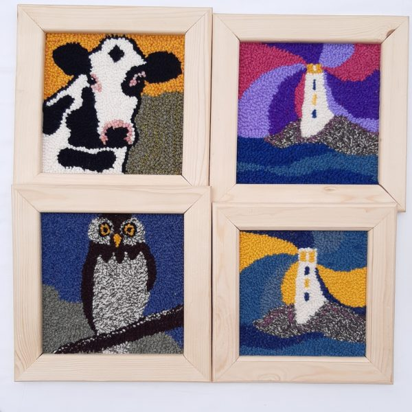 Patterns for punch needle showing a cow, owl or lighthouse