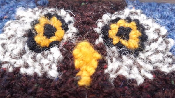 Close up view of a front side of punch needle pattern showing night owl's eyes
