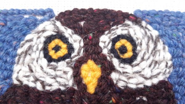 Close up view of a back side of punch needle pattern showing night owl's eyes